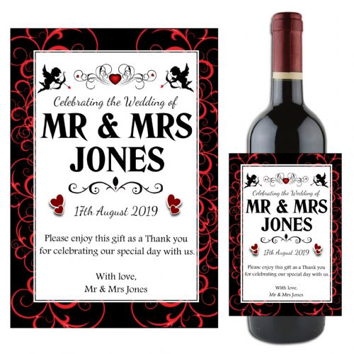 Personalised Wedding Word Art Table Favours Gift Wine / Champagne Bottle Label N97